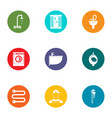 tub icons set flat style vector image vector image