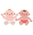 Two cute babies isolated on white vector image