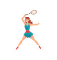 young female tennis player with racket and ball in vector image vector image