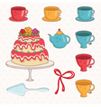 cartoon cakecups and teapot vector image