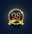 98th anniversary celebration badge label in vector image