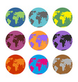 Set of color atlases Multicolored map of Earth vector image