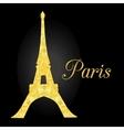 Golden Glowing Eiffel Tower in Paris vector image
