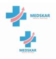medical logo with up arrow symbol vector image