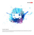 ambulance icon - watercolor background vector image