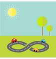 Background with road infinity sign cartoon cars vector image vector image