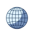 blue color silhouette shading of front view globe vector image vector image