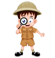 Boy scout with magnifying glass vector image vector image