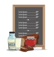 breakfast menu jam bread milk vector image