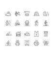 camping equipment line icons signs set vector image vector image
