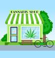 cannabis shop building front view flat vector image