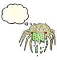 cartoon gross halloween spider with thought bubble vector image