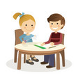 children making crafts in a table on white vector image