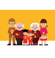 chinese cartoons family with red envelopes vector image vector image