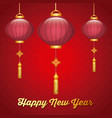 chinese happy new year red lanterns decoration vector image