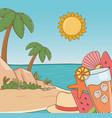 cocktail and vacations items on beach vector image