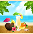 cocktails realistic pina colada composition vector image vector image