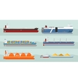 Collection of Cargo Ships Flat Style vector image
