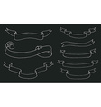 Collection of hand drawn ribbons on blackboard vector image