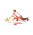 curling winter sport ice stone concept vector image vector image