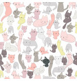cute cat character seamless pattern vector image