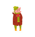 cute funny pig standing with cup of tea piggy vector image vector image