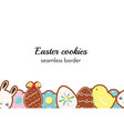 easter cookies seamless border background vector image vector image