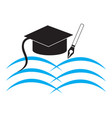 education with opened book toga hat and pen vector image