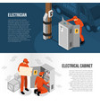 electrician isometric banners vector image