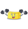 fitness butter character cartoon style vector image
