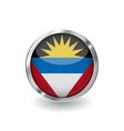 flag of antigua and barbuda button with metal vector image