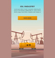 flat yellow rail tanker oil industry vector image vector image