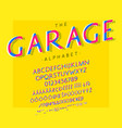 garage font and alphabet with numbers vector image