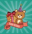 happy birthday card with cute bear vector image
