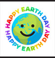 happy earth day poster bright greeting text vector image vector image