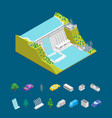 hydroelectric power station concept and elements vector image