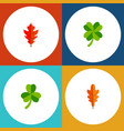icon flat leaf set of linden frond leafage and vector image vector image