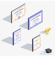 isometric icons different official bright vector image