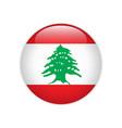lebanon flag on button vector image vector image