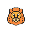 lion wild cat head flat color line icon vector image