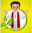 Logo design with priest and leaves vector image