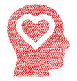 love in head fabric textured icon vector image