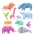 low poly modern gradient animals set origami vector image