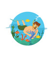 male diver swimming on the ocean vector image vector image