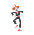 man skeleton in mexican traditional costume and vector image vector image
