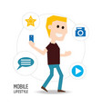 man with smartphone in the hand and technological vector image vector image