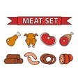 Meat and sausages icon set modern line style vector image vector image