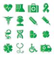 medicine icons green vector image vector image