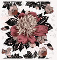pattern with peony flowers in victorian style vector image vector image