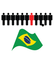 people icon with brasil flag color vector image vector image